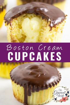 Boston Cream Pie Cupcakes are a mini version of the classic with soft, fluffy, cupcakes, homemade custard filling, and a rich, decadent chocolate ganache. This from scratch recipe is the BEST. Delicious Cake Recipes, Best Dessert Recipes, Cupcake Recipes, Yummy Cakes, Cupcake Cakes, Boston Cream Pie Cupcakes, Fluffy Cupcakes, Custard Recipes, Baking Recipes