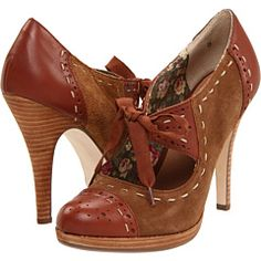 Seychelles Undercover burgundy and tan spectator pumps with stacked heels. I wish I could walk in heels this high!