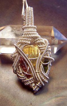 Wire wrap Crystal necklace pendant  Heliodor by mandalarain, $140.00