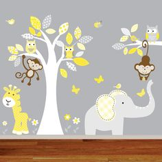 Childrens jungle wall decal nursery tree owl bird elephant giraffe teal grey kids playroom decal boy girl baby decal SIZE Tree x Kids Wall Decals, Nursery Wall Decals, Nursery Prints, Nursery Decor, Nursery Ideas, Nursery Stickers, Wall Stickers, Elephant Nursery, Girl Nursery