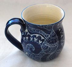 MUG Handmade and hand decorated mug for coffee or tea in royal blue detailed patchwork style patterns incised