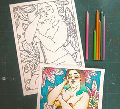 """Adults Coloring Book - """"Les Foufettes - Claudette"""" - Body Positive Pin Up Colouring Page Printable by TigerlilyDesignStore on Etsy"""