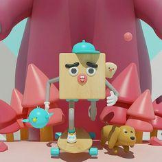 Escena  .  .  .   #cube #bear #bird #dog #characters  #run #3D #cinema4D  #creative  #design #escena #happy #illustration  #digitalart