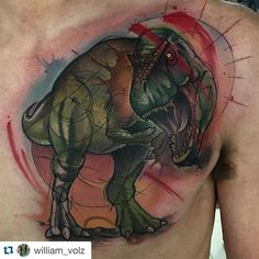 And the finished product. Volz knocked it out of the park!  #Repost @william_volz  Knocked out this t-Rex today:) good times @unkindnessart with my homie @erinchancetattoo who is doing a fucking sweet plague Doctor sleeve. @eternalink @fkirons @needlejig @saniderm @stencilstuff @redemptiontattoocare  #watercolortattoo #watercolor #richmond #richmondtattoo #rva #rvatattoo #dinosaur #dinosaurtattoo by unkindnessart