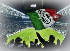 Juventus flag. Curva sud. Stadium. Turin