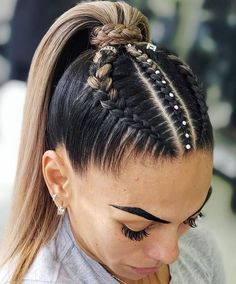 90 easy hairstyles for naturally curly hair - Hairstyles Trends Cool Braid Hairstyles, Baddie Hairstyles, Easy Hairstyles For Long Hair, Braids For Long Hair, High Ponytail With Braid, Cheer Hairstyles, Athletic Hairstyles, Braid Ponytail, Bouffant Hairstyles