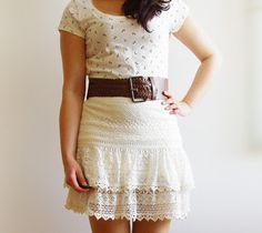 Oh my Anchor! - Lace Skirt, Anchor-Shirt & Crochet Cardigan