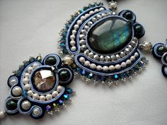 Bead Embroidery Necklace Soutache blue by PreciousHeartBeads, $145.00