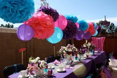 10 Tissue Paper Pom Poms - Mad Hatter Tea Party Decorations - Your Color Choice- SALE on Etsy, $30.00