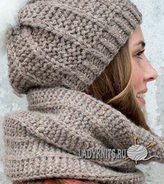 Вязаная спицами модная шапка и снуд. Простое вязание.