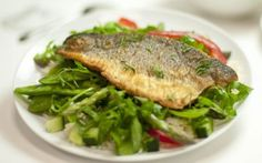 Sea Bass Fillets with a Cucumber, Wild Rocket and Dill Salsa Recipe