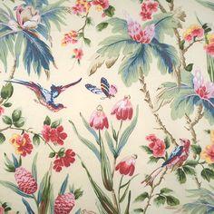 Printed Chintz multi on cream decorator fabric by Scalamandre.