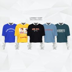 Layered T-Shirt for The Sims 4 Sims 4 Men Clothing, Sims 4 Male Clothes, Mods Sims 4, Sims 4 Piercings, The Sims 4 Cabelos, Sims 4 Children, Sims 4 Gameplay, Sims 4 Collections, Sims 4 Dresses