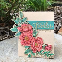 The June @simonsaysstamp Card Kit is magnificent!  It's anchored by this stunning floral stamp.  #sssck #simonsaysstamp I colored this beauty with #polychromospencils