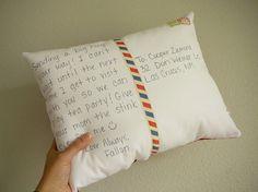 postcard pillow. Such a sweet idea :)