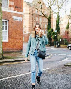 a99834269cbaf Love Cloth wears our moss-green Grace biker jacket. Suede Biker Jacket  Womens,