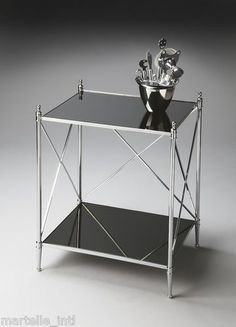 Modern End table w/ Ballerina Feet Mirror Glass Top Nickel Finish New Free Ship