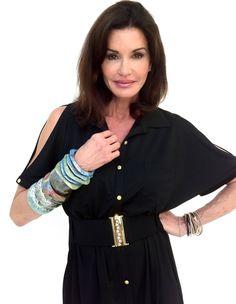 Janice Dickinson wearing Deborah Gaspar jewelry.