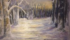 Wintersun in snow landscape (oils)