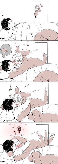 Yuri On Ice. Victor Nikiforov, Yuuri Katsuki and doggie Makkachin.