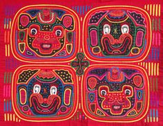 The 4 Circus Clowns Mola is truly a masterpiece...you very rarely see molas in this fine condition (its about 65 years old), this fantastic quality, or with this skillfully executed design! Take a close look at the tiny stitches, the complexity of the design and the fact that every square inch of the panel is decorated! It is very unusual to find all these attributes in the more modern Molas you see in the marketplace today.  The Cuna Indians wear these beautiful pieces as a panel in front…