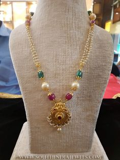 Pearl Chain Necklace From Bhavani Jewellers ~ South India Jewels Pearl Necklace Designs, Jewelry Design Earrings, Gold Earrings Designs, Gold Bangles Design, Ruby Necklace, Antique Necklace, Simple Necklace, Jewelry Sets, Pearl Earrings