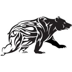 Bear tattoo design with tribal pattern