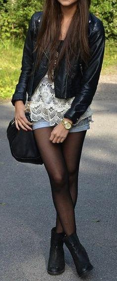 Denim, Lace & Leather ♥