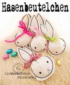 Stickmuster für süße Hasenbeutelchen als Oster Dekoration / Easter decoration and gift wrapping idea: stitching idea made by LiebhabeStueck via DaWanda.com