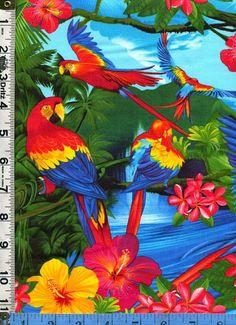 Tela Timeless Tropical isla pájaros flores escena guacamayos loros plumeria hibisco flor diseñador Michael Searle