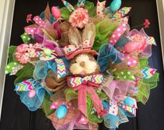 Easter wreath Spring mesh wreath Welcome by ShellysChicDesigns