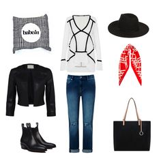 Babywearing wrap: Babein Hashtag; Top: Sass and Bide This Is The Day; Jacket: White Suede Cropped Leather; Jeans: Seed Heritage Boyfriend Ripped; Boots: RM Williams Arno Bay; Scarf: The Iconic Pagoda Silk Scarf; Hat: Kmart Fedora Short Hat; Bag: Oroton Estate Tote