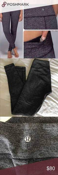 Lululemon black & grey Herringbone Wunder Under Lululemon black & grey Herringbone Wunder Unders! Size 6! In EXCELLENT condition. Really no piling at all!  Mid-rise. Soft buttery luon! *HARD TO FIND!!* lululemon athletica Pants