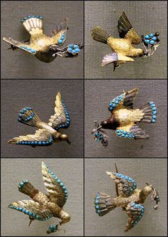 Antique Pins - Birds with messages