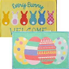 2 Pack Happy Easter Spring Printed Accent Rugs 20 inch x 30 inch- Bunnies and Easter Eggs KDS http://www.amazon.com/dp/B017WQU4F0/ref=cm_sw_r_pi_dp_H5gCwb1Q0D9NQ
