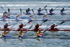 Olympic rowing event at 1996 summer olympics in Atlanta on Lake Lanier.