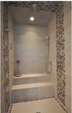 Spa Style Steam Shower Natural Stone And Custom Tile Details