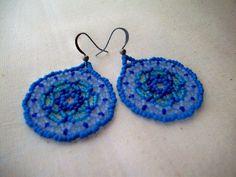 Beaded Indigo Earrings  Shades of Blue  by RaptorRidgeOriginals, $12.00