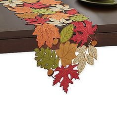 Add a hint of autumn to your casual, or formal dining experience with the whimsical Serene Leaves Table Runner. This beautiful, fall inspired cutwork, fabric table runner is the perfect festive addition to your table this Thanksgiving. Felt Crafts, Fabric Crafts, Diy And Crafts, Leaf Table, Diy Table, Ideias Diy, Quilted Table Runners, Fall Table, Holiday Tables