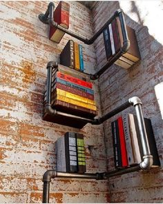 Exposed pipes bookshelf