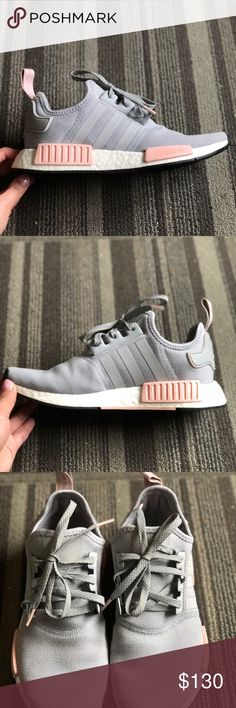 Adidas NMD R1 Grey Pink Original and authentic NMD women's R1's. They do not sell this color anymore! Bought over summer and have only worn a few times. Look basically brand new only place you can tell they have been worn is the soles. The most comfortable shoes I have ever own! Feels like your walking on a cloud and I get so many compliments when I wear them. Just have too many shoes personally. adidas Shoes Athletic Shoes