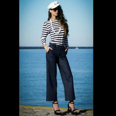 """Outfit Spring Post:""""by the sea""""!!! Navy Cropped Denim Wide Leg Pants. Hot Fashion Women Casual Solid Waist Pants With Classic Nautical Stripes Navy Blue Mariner Blouse,NV by Nektarios Vazakopoulos Spring - Summer 2018 Collection,Available At Atelier Modas NV,Milatou 27 Heraklion. Amazing,Gorgeous,Chic Look For Every Day!NV®⚓💙⚓"""