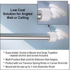 Shower Rod Angled Wall Mount To Be Used With Any Curtain For Slanted Or In A Tub Area