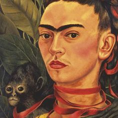 Self Portrait with a Monkey, c.1940 (detail) Kunstdruck