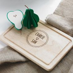 This gorgeous rectangle board is a great gift for any couple, whether it is an engagement gift or a wedding present it's sure to put a smile on their faces. Featuring a bohemian design and informal handwritten font this stunning board really is a great choice. Constructed from hevea hardwood – which is environmentally friendly, leaves this board with the ideal surface for cutting. As a sentimental finishing touch, the board will be engraved with any personalised details from title to wedding…