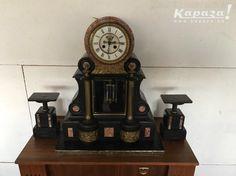 Pendule tafelklok in marmer en brons | Kapaza