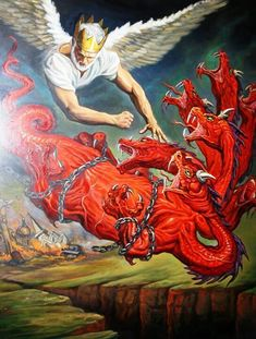 Our King Jesus throwing Satan the Devil depicted as a dragon being thrown into the Abyss for a thousand years , with the Devil out of the way & his demons  Jesus can get on with the work of the Government  (Kingdom) to restore the earth into a paradise it was always meant to be Rev:* 20 :1-3