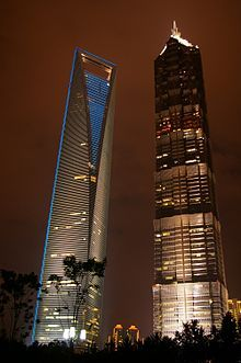 Shanghai, China: the Shanghai World Financial Center (left) and the Jin Mao Tower (right)