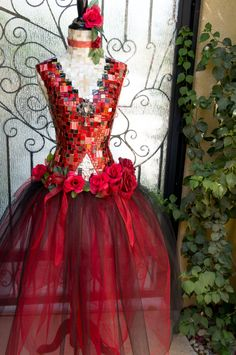 "Women's Dress form Mannequin Mosiac Art ""Don Quixote"" Red Dress  Fantasy Art/ Ballerina/ Ballet, dancer, roses, set design/ store display by Mosaicsbycarrie on Etsy"