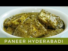 Paneer Hyderabadi is a delicious recipe with a rich green gravy made up of spinach, onions and coriander leaves as the main ingredients. Paneer Hyderabadi Re. Indian Gravy Recipe, Paneer Gravy Recipe, Paneer Curry Recipes, Chaat Recipe, Paneer Dishes, Veg Dishes, Food Dishes, Indian Vegetable Recipes, Veg Recipes